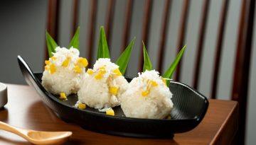 sticky rice with mango and u.s. yellow split peas