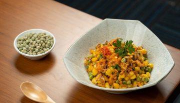 u.s. whole green peas stir fried with dried shrimps and corn